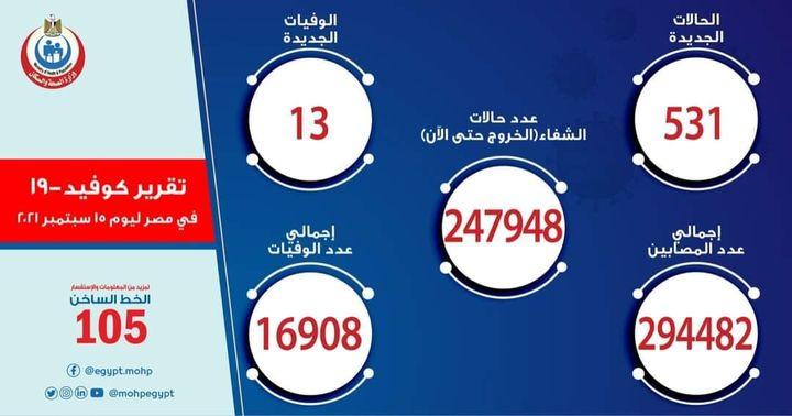 بيان صادر عن وزارة الصحة والسكان: الصحة: ارتفاع حالات الشفاء من مصابي فيروس كورونا إلى 247948 وخروجهم من 32134
