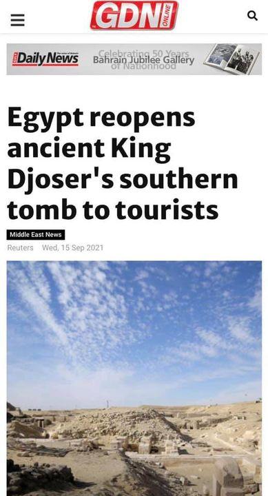 وزارة السياحة و الآثار: افتتاح مشروع ترميم المقبرة الجنوبية للملك زوسر يتصدر أخبار الصحف ووكالات الأنباء 59338