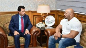 بيان صادر عن وزارة الشباب والرياضة:  وزير الرياضة يستقبل بيج رامي الفائز للمرة الثانية على التوالي بلقب